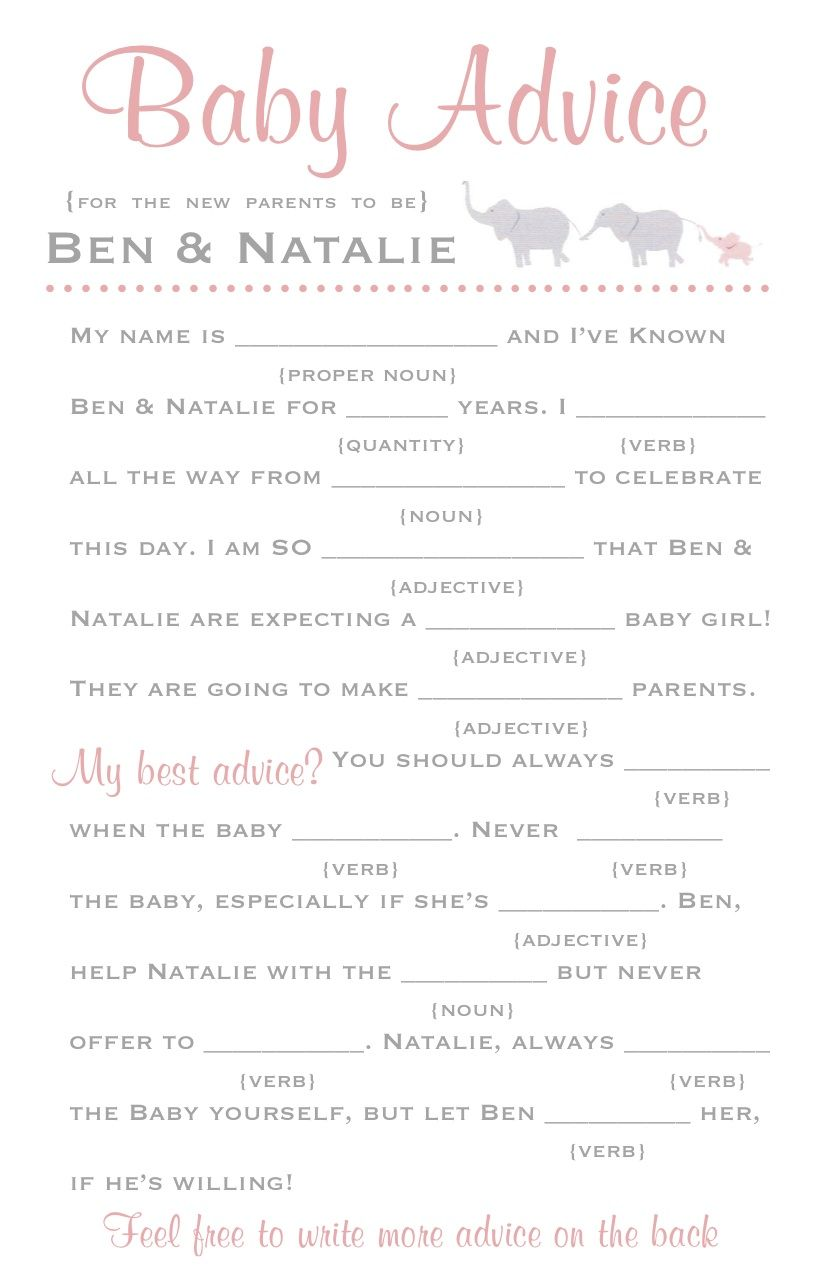 Most baby showers are hosted right around lunch time which can leave - Could Be Fun To Do A Mad Libs Version Of This At The Baby Shower Lol
