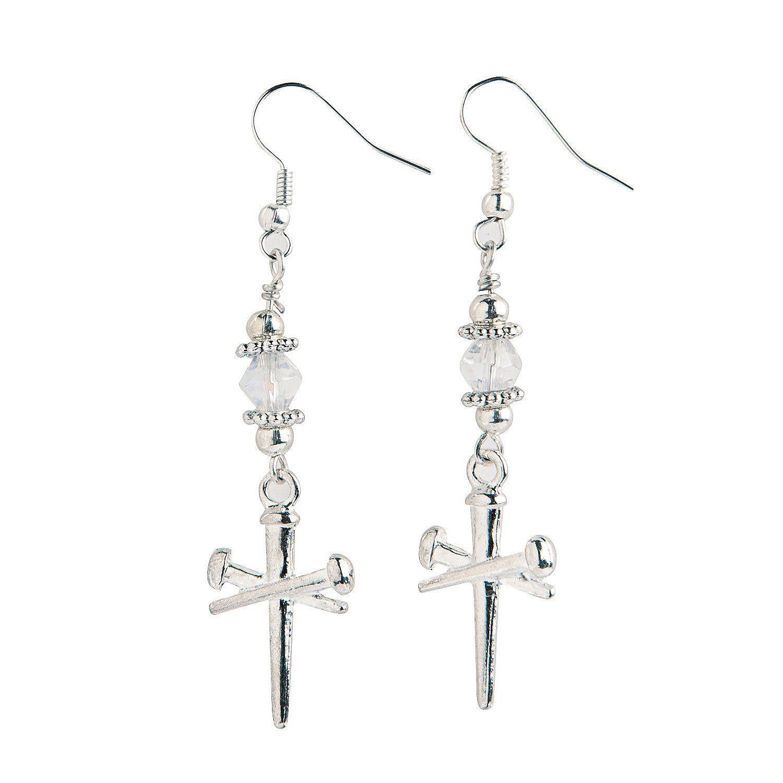 Silver Nail Cross Charm Earrings Craft Kit