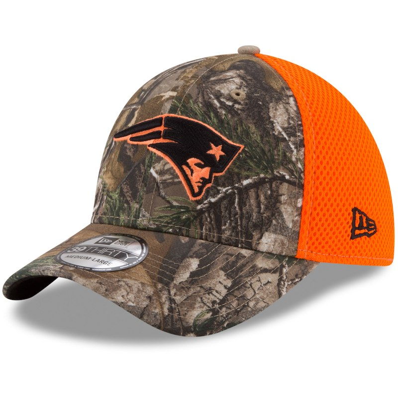 sale retailer 833b4 0dae9 New England Patriots New Era Blaze Neo 39THIRTY Flex Hat - Realtree  Camo Orange