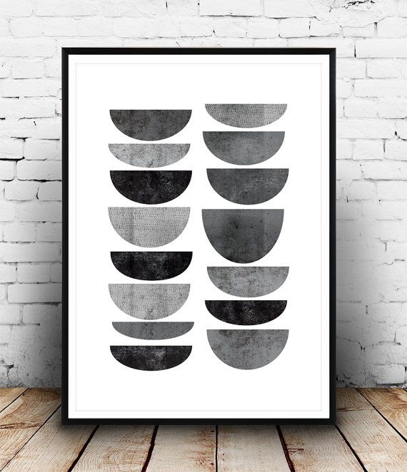Scandinavian design wall art : Minimalist print abstract art geometric poster mid