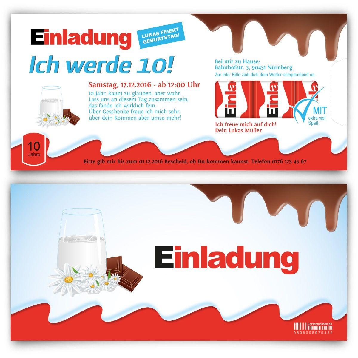 Kindergeburtstagseinladung Schokolade Fur Kinder Motiv Geburtstag