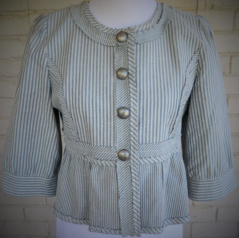 "Cynthia Steffe Blazer Jacket ¾"" Sleeves, Blue and White Stripes Size 8 #CynthiaSteffe #Blazer"