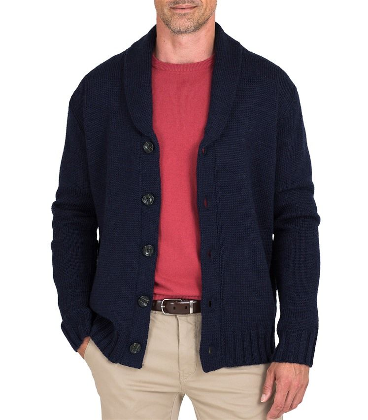 Mens Pure Wool Chunky Shawl Collar Cardigan - Size Large ...