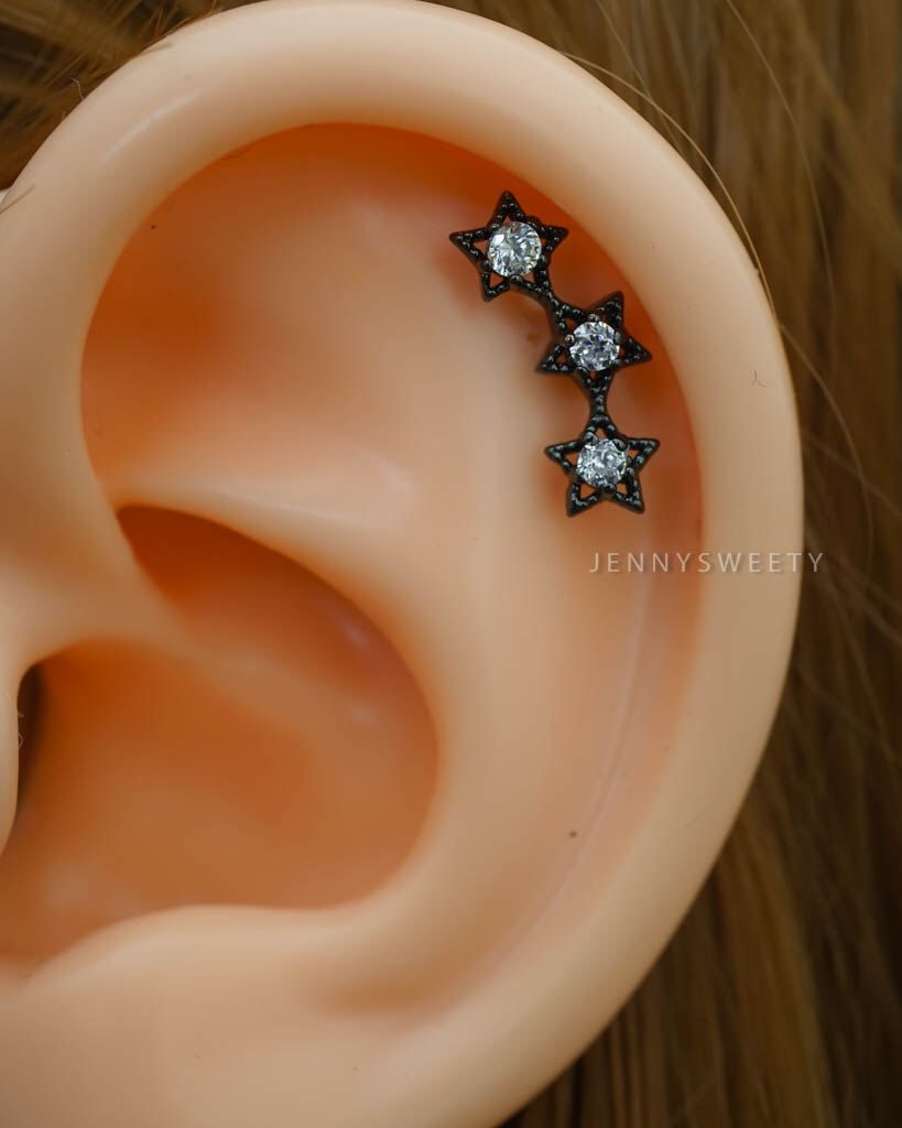 cartilage earring, cartilage piercing 16g, cartilage stud, triple helix earring, helix piercing, CZ silver gold black three stars by JennySweety on Etsy https://www.etsy.com/listing/249696444/cartilage-earring-cartilage-piercing-16g