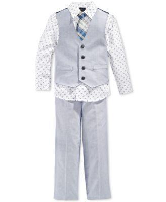 143f57cf962a Nautica Little Boys' 4-Pc. Chambray Vest, Shirt, Tie & Pants Suit Set -  Sets - Kids & Baby - Macy's