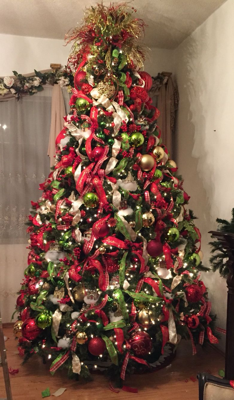 Red Green Gold And White Christmas Tree 2015 Christmas