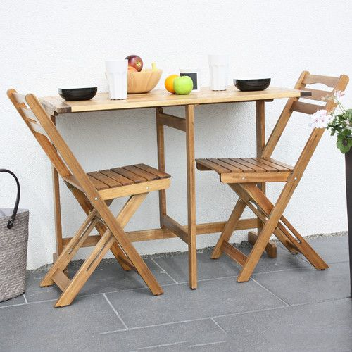 Superieur Madrid 3 Piece Foldable Acacia Balcony Dining Set
