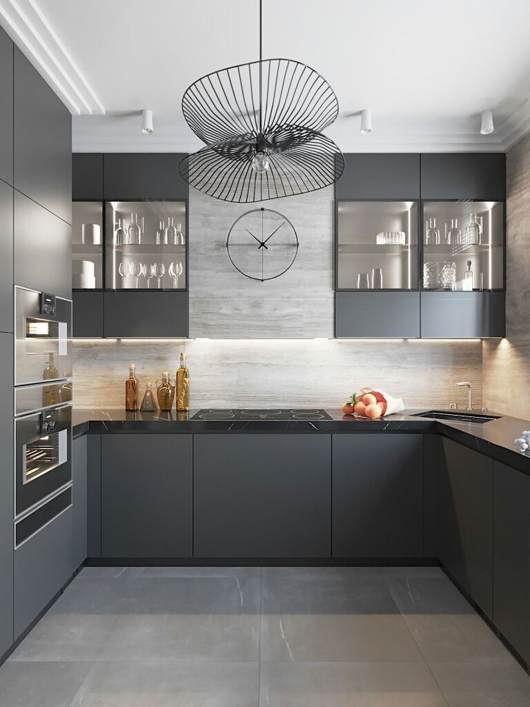 Kitchen Room Interior Design: Modern Black And Grey Kitchen With Geometric Pendant Light