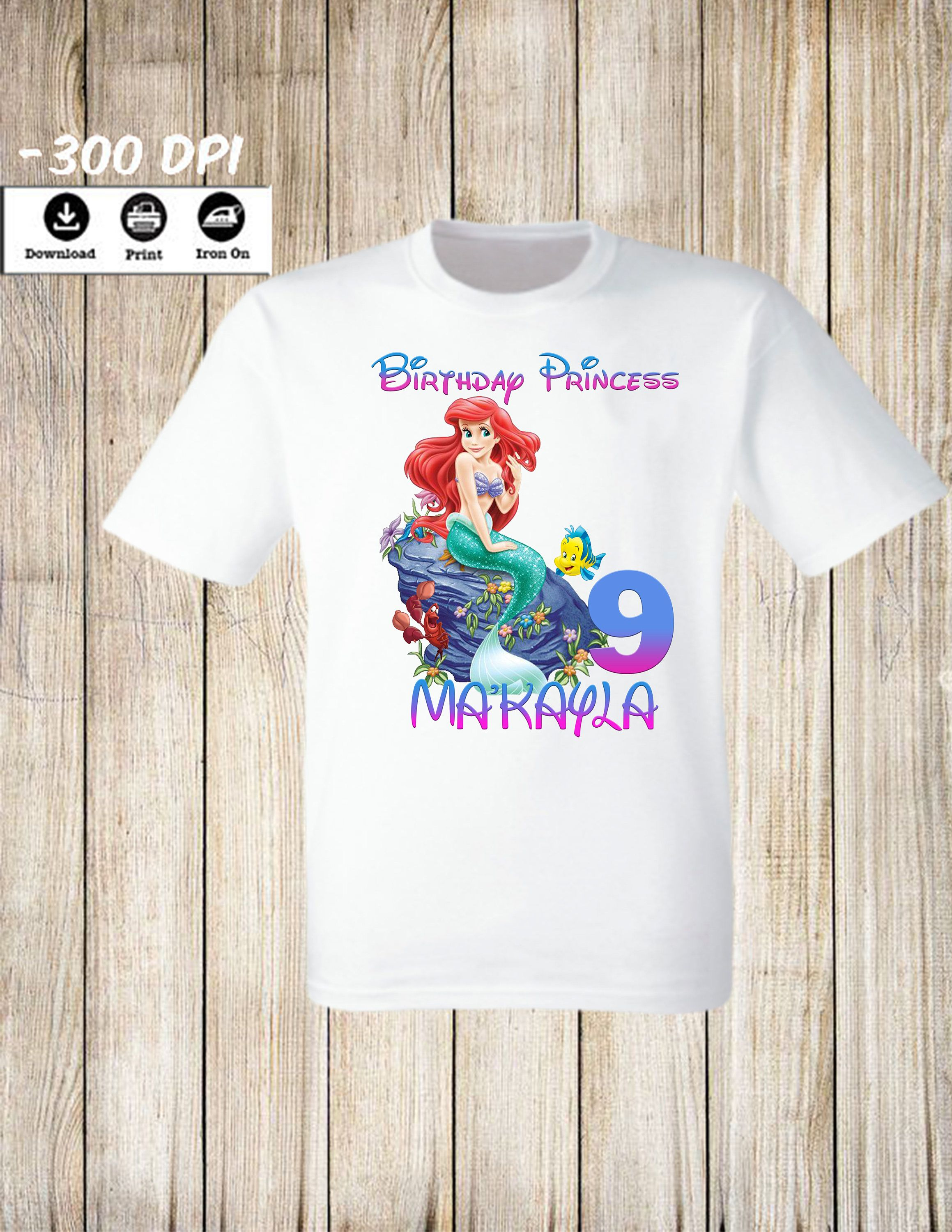Disney Little Mermaid Birthday Iron On Transfers Princess Personalized T Shirt By