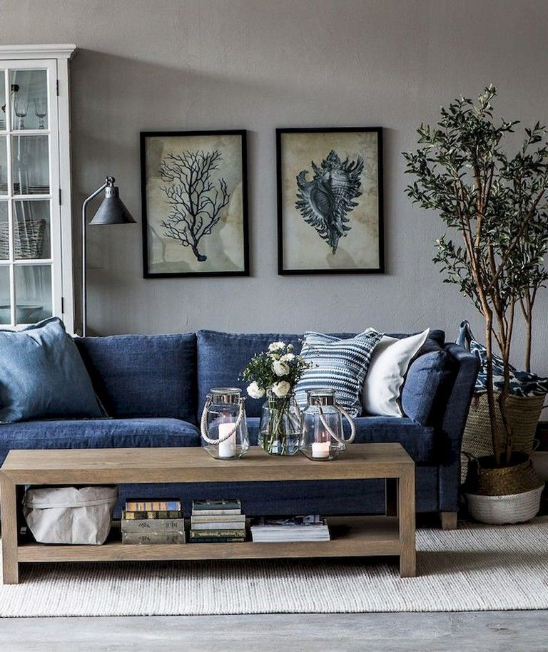 Pin On By The Sea Living room ideas navy sofa