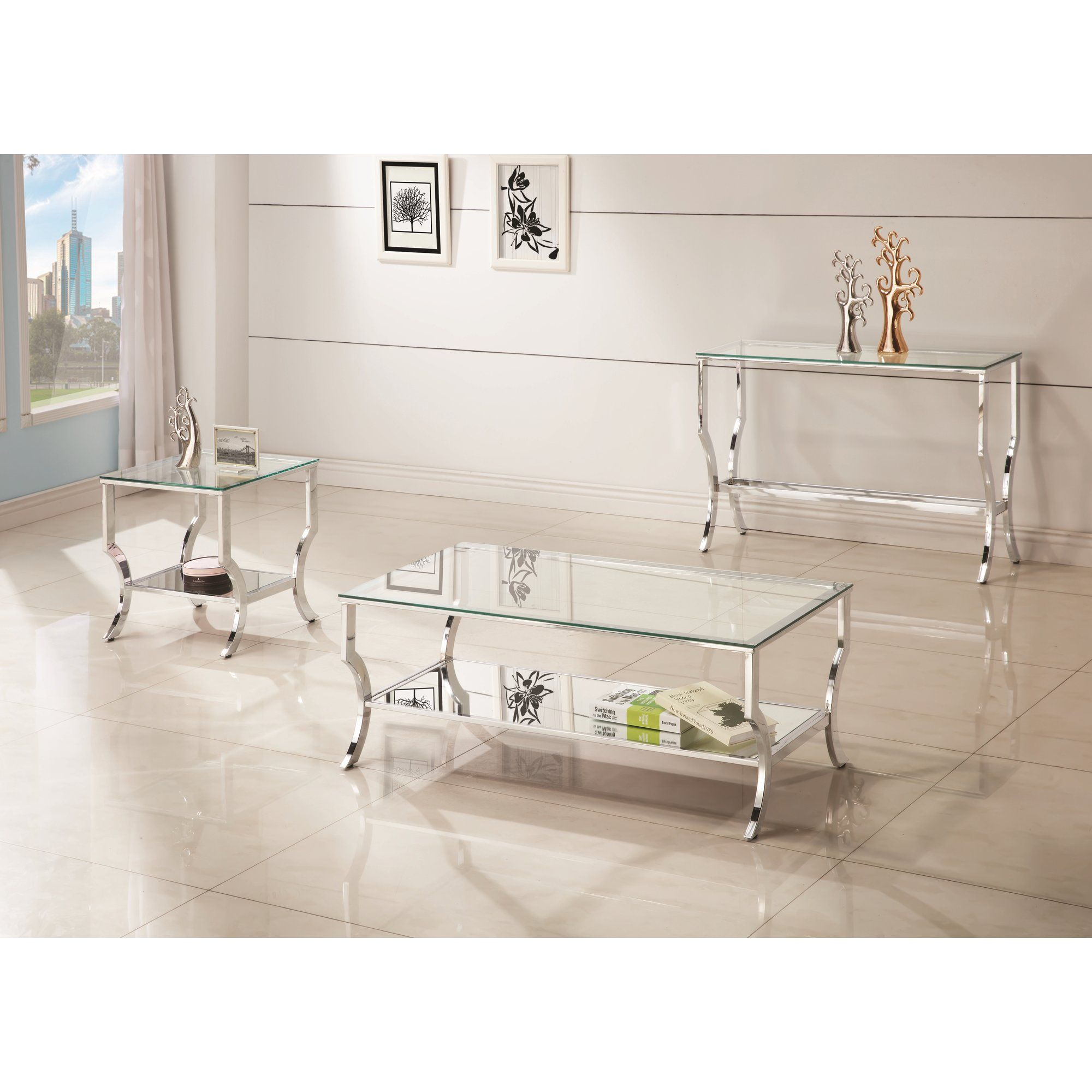 Anndale End Table Glass Top End Tables 3 Piece Coffee Table Set Rectangular Coffee Table [ 2000 x 2000 Pixel ]