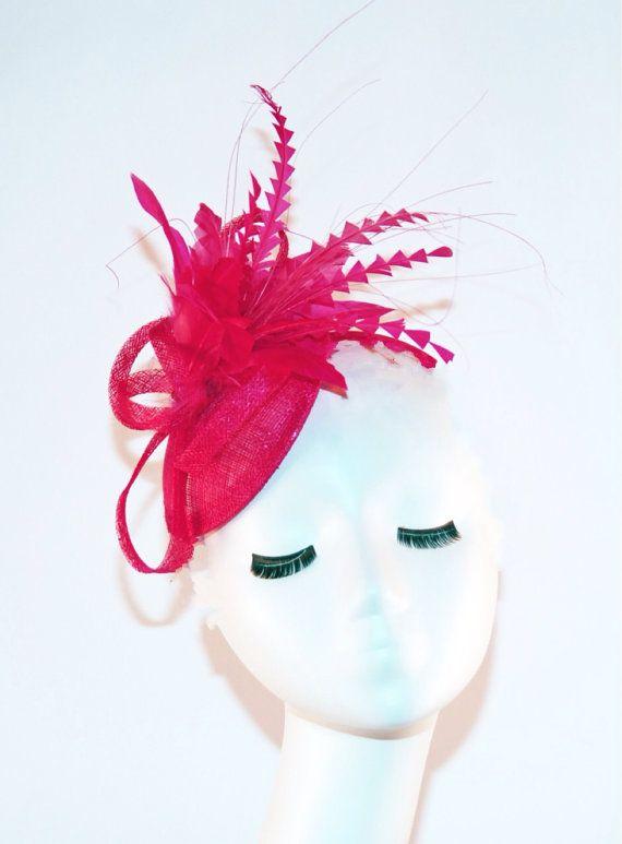 Hot Pink Fascinator Hat Fuschia Kentucky Derby Tea Party Royal Wedding