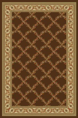 Ottohome Collection Choclate Floral Trellis Design Modern Area Rug With  Non Skid (Non