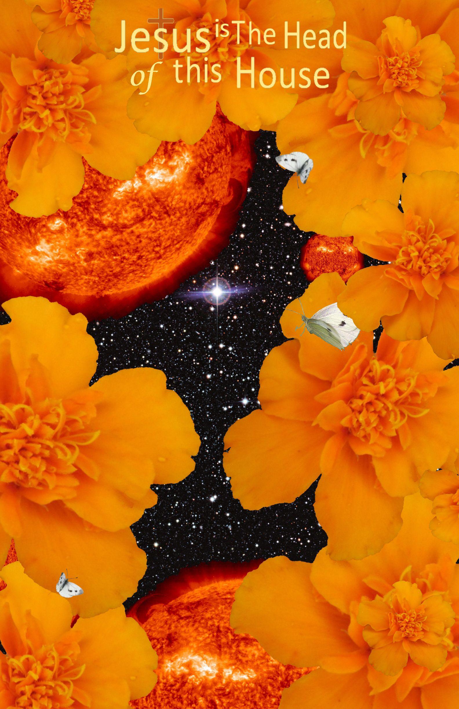 Jesus Is The Head Of This House Orange Flowers Red Stars Black