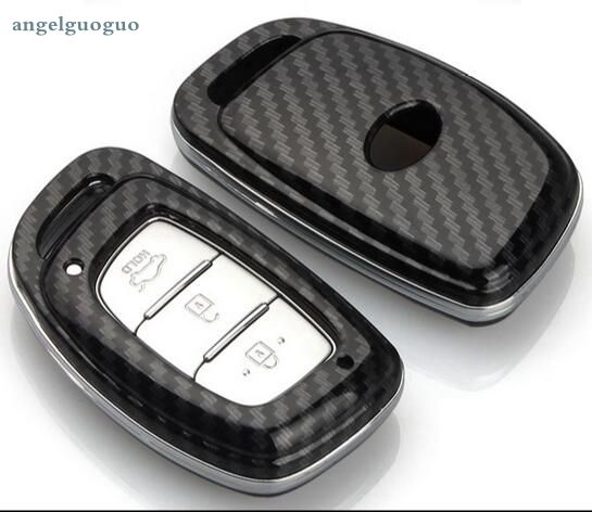 Carbon Fiber Smart Car Key Cover Accessories For Hyundai Tucson Elantra Sonata