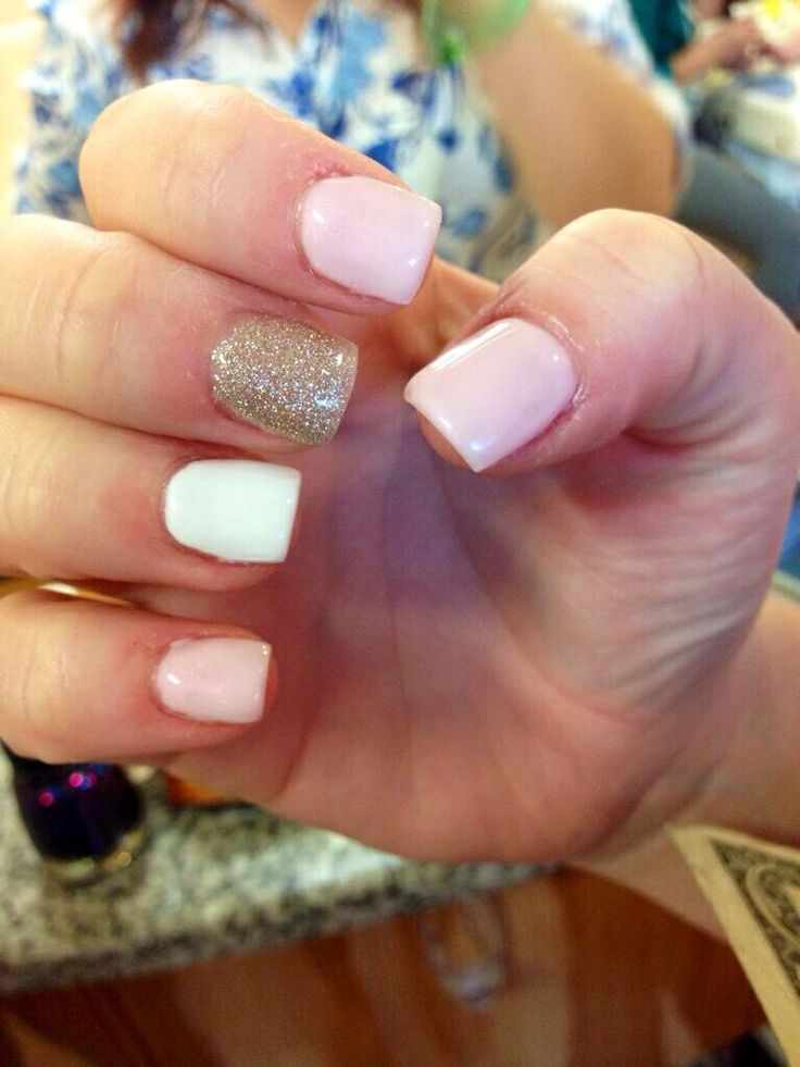 Acrylic Nails With Gel Polish Pink White Silver Sparkles