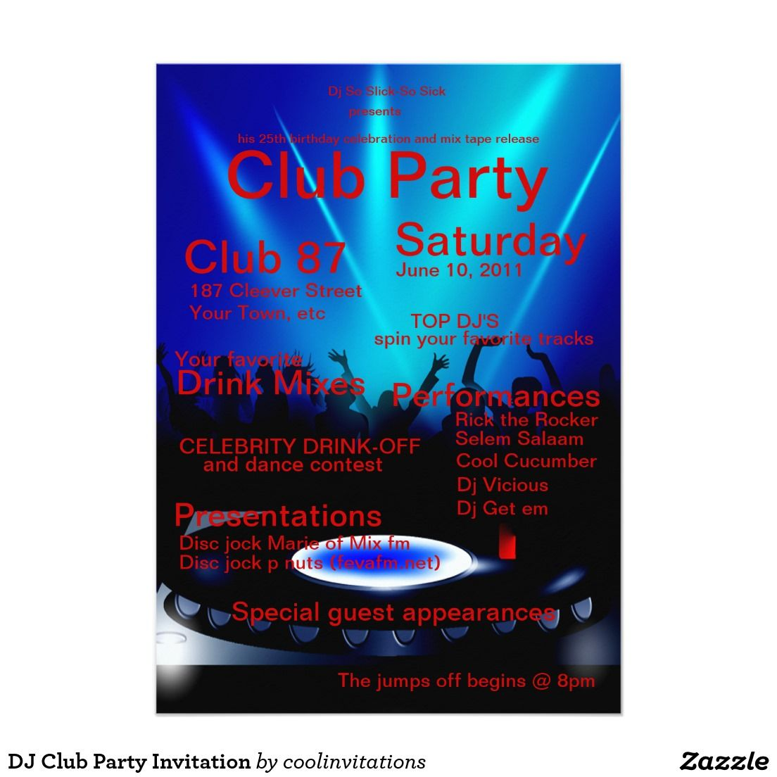 dj club party invitation dj party invitations pinterest party