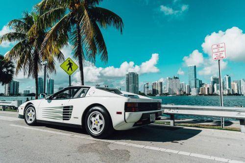 White Ferrari Testarossa Miami 2017 Supercar With Images