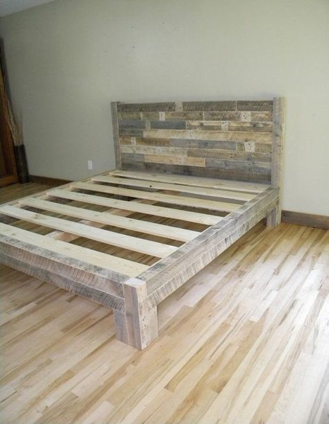 King Bed King Headboard Platform Bed Reclaimed By Jnmrusticdesigns Similar Ideas But I Want Them Stained Diy Pallet Bed Pallet Furniture Diy Bed Frame