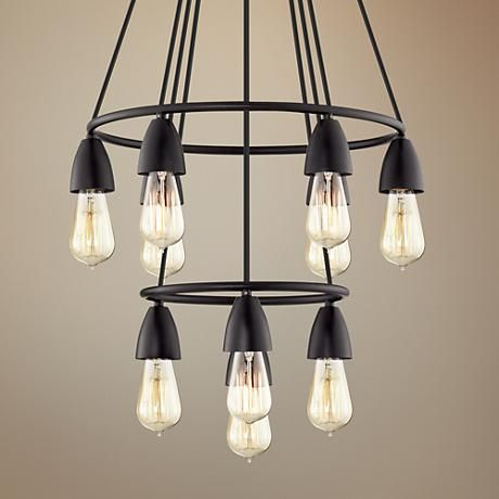 This Large Ten Light Black Multi Light Pendant Has A Handsome