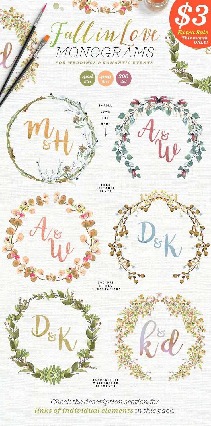 6 Fall in Love Wedding Monograms V   Wedding monograms