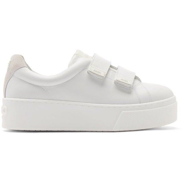 a152be5c1b67c1 Kenzo White Leather Velcro Platform Sneakers (352,120 KRW) ❤ liked on  Polyvore
