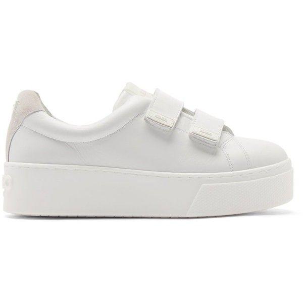 6cd81354eabe5 Kenzo White Leather Velcro Platform Sneakers (352