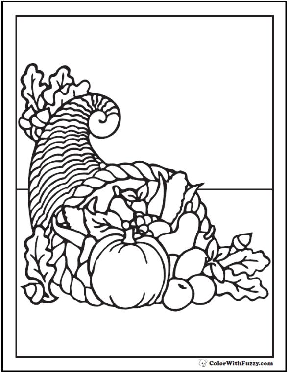 Cornucopia Coloring Page: Beautiful Fall Bounty   Amanda   Pinterest