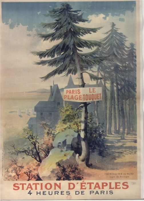 vintage poster 1930's from the french railroad company. Affiche Station d'Etaples, à 4 heures de Paris - Chemin de fer du Nord, ligne de Boulogne