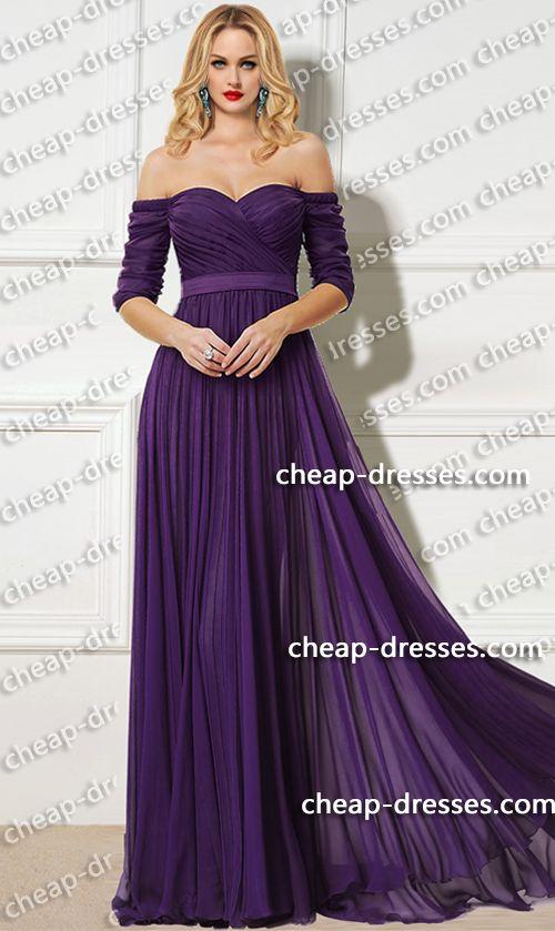 Alluring Off The Shoulder Sweetheart Chiffon Dressom Dresses