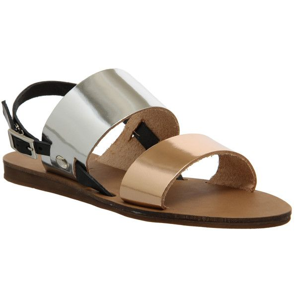 Office Ora Double Strap Sling Back Sandal Metallic Mix Leather - Sandals