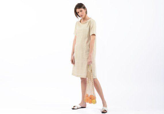 11b2f6591b1 Loose fitted linen dress - womens casual summer dresses - linen dress - knee  length dress - oversize