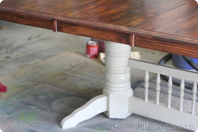How To Stain A Table Love The Contrast Of The Dark Wood And The Painted Bottom Dining Table Makeover Chair Makeover Kitchen Table
