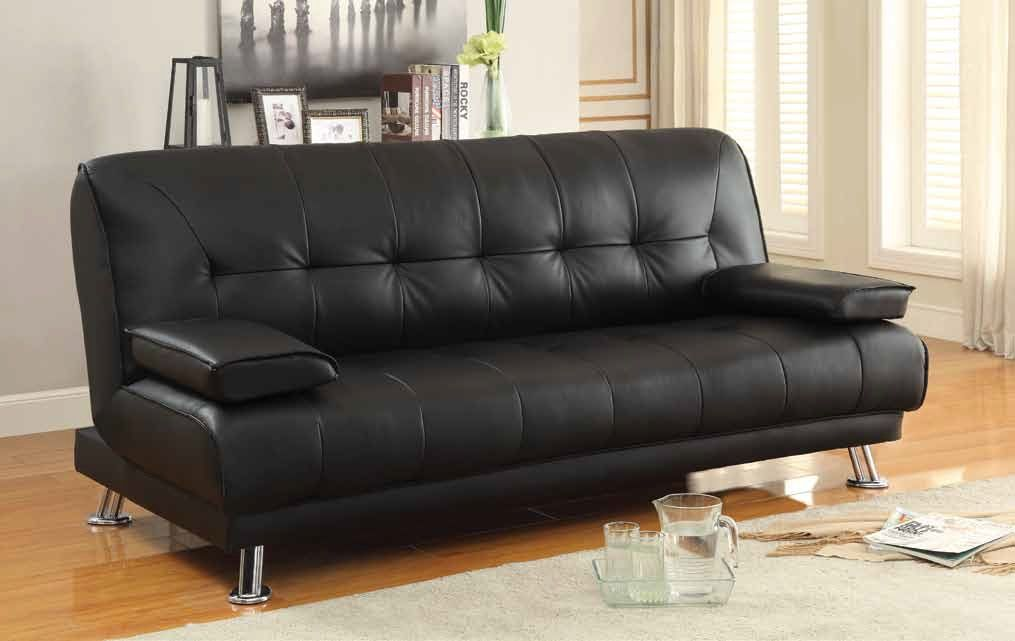 Braxton Transitional Black Faux Leather Fabric Sofa Bed