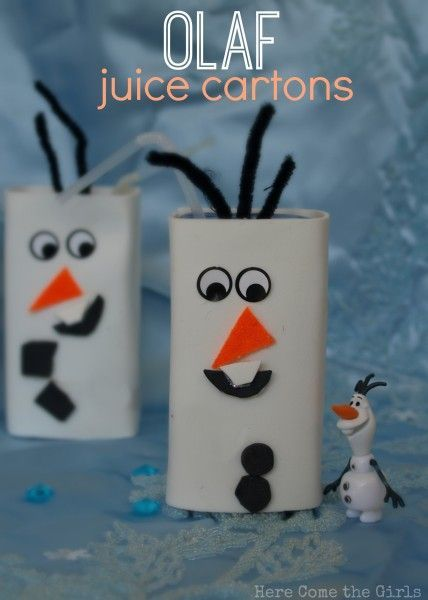 Olaf juice cartons for kids -this will be a popular craft