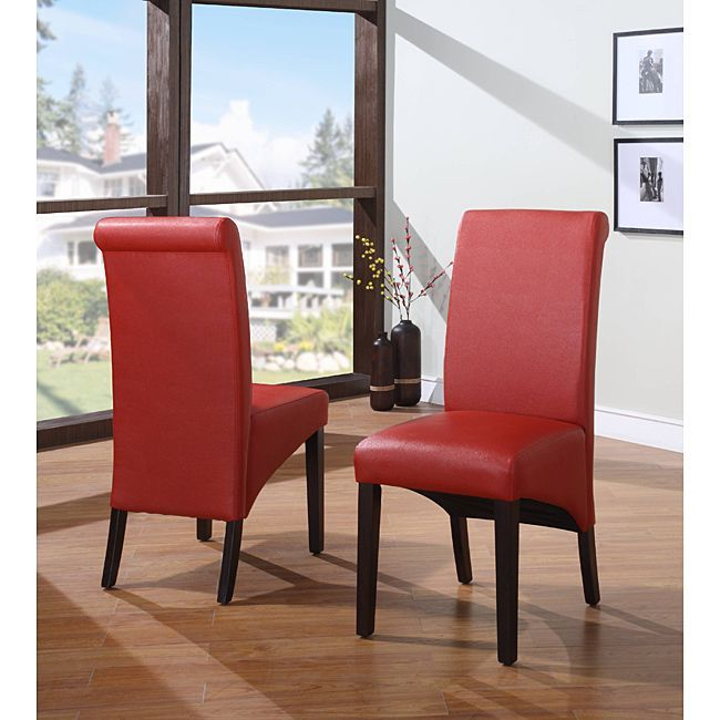 Sleigh Back Red Parsons Chair Set Of 2 Overstock Com Shopping