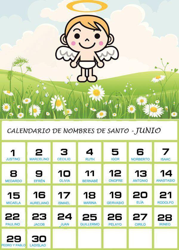 Calendario Con Santos.Calendario De Los Nombres De Santos De Junio Cosas Para Intentar