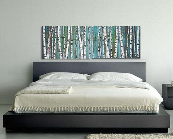 Birch Trees Tree Painting Diptych Panoramic Abstract Bedroom Art White Forest 20x60 Horizontal Wall