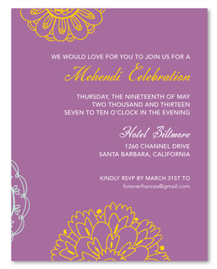 Mehendi Insert Cards Sacred Colors Indian Weddings Wedding