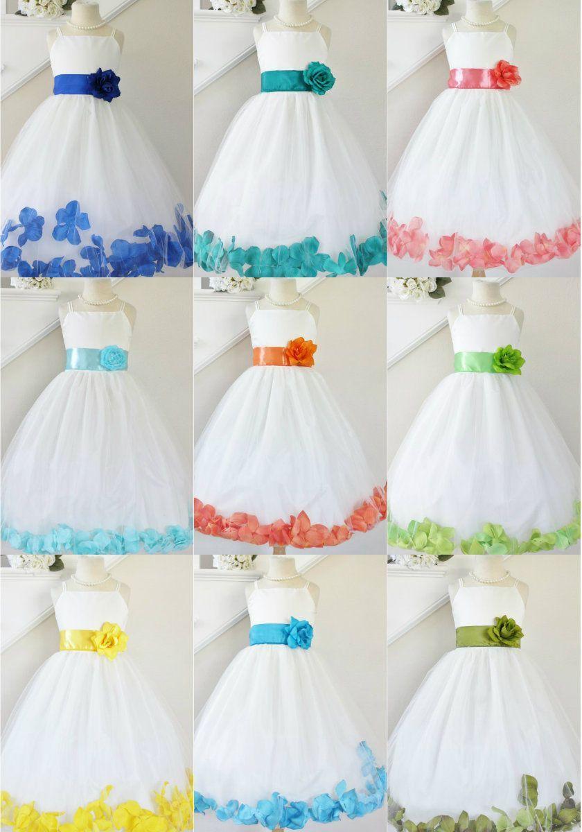 Ivory Flower Girl Bridesmaids Fall Wedding Mixed Petal Toddler Girl Dress #24