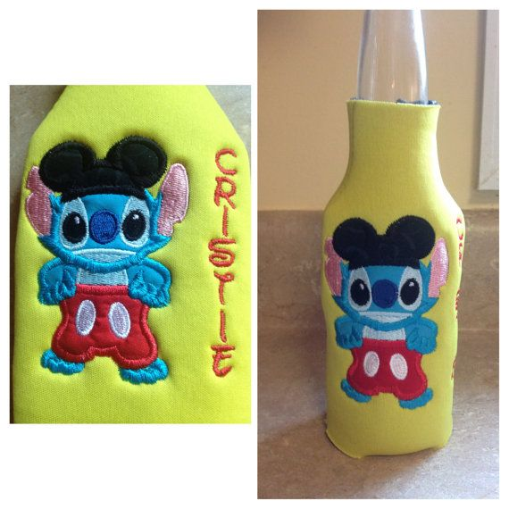 Stitch dressed as Mickey Mouse personalized embroidered Koozies (3 styles  beer bottle, water bottle