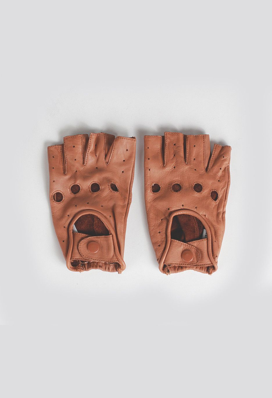 Black leather cut off gloves - Genuine Leather Cut Off Driving Gloves In Tan