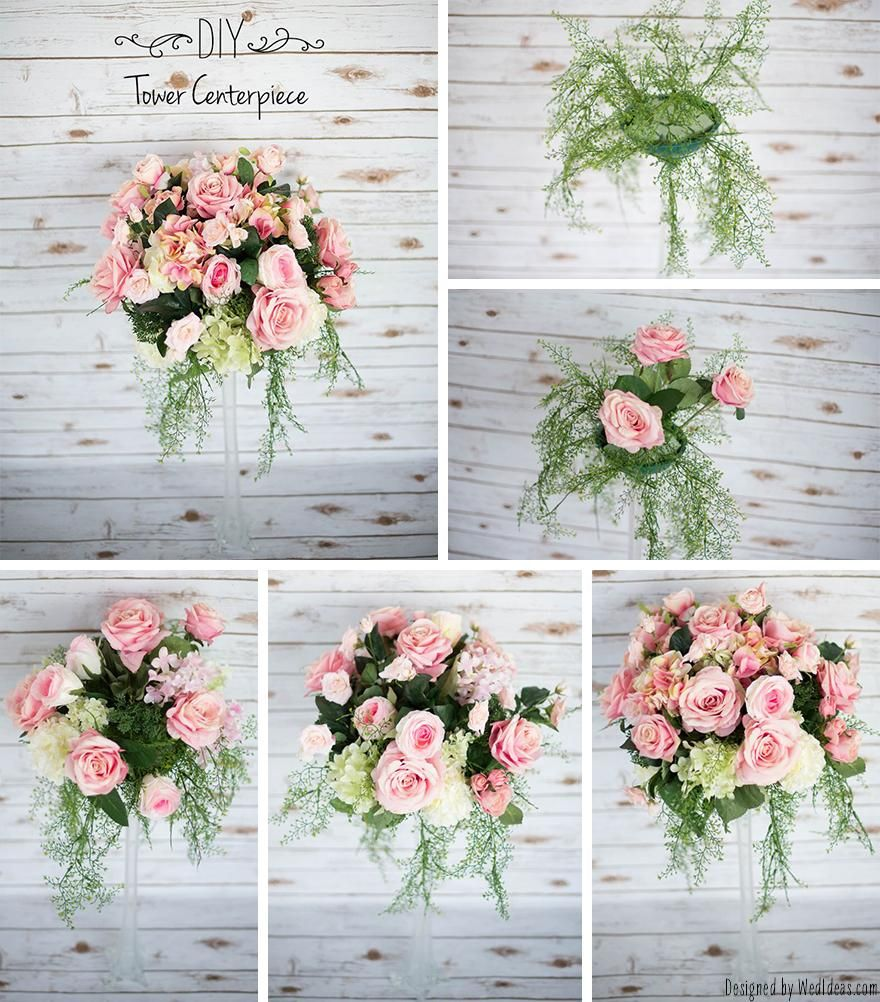 DIY Tower Centerpiece | Floral foam, Centerpieces and Wedding ...