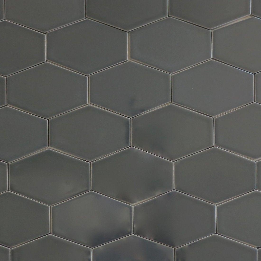 Kiln Ceramic Stretch Hex Carbon Dark Gray Ceramic Tile Grey