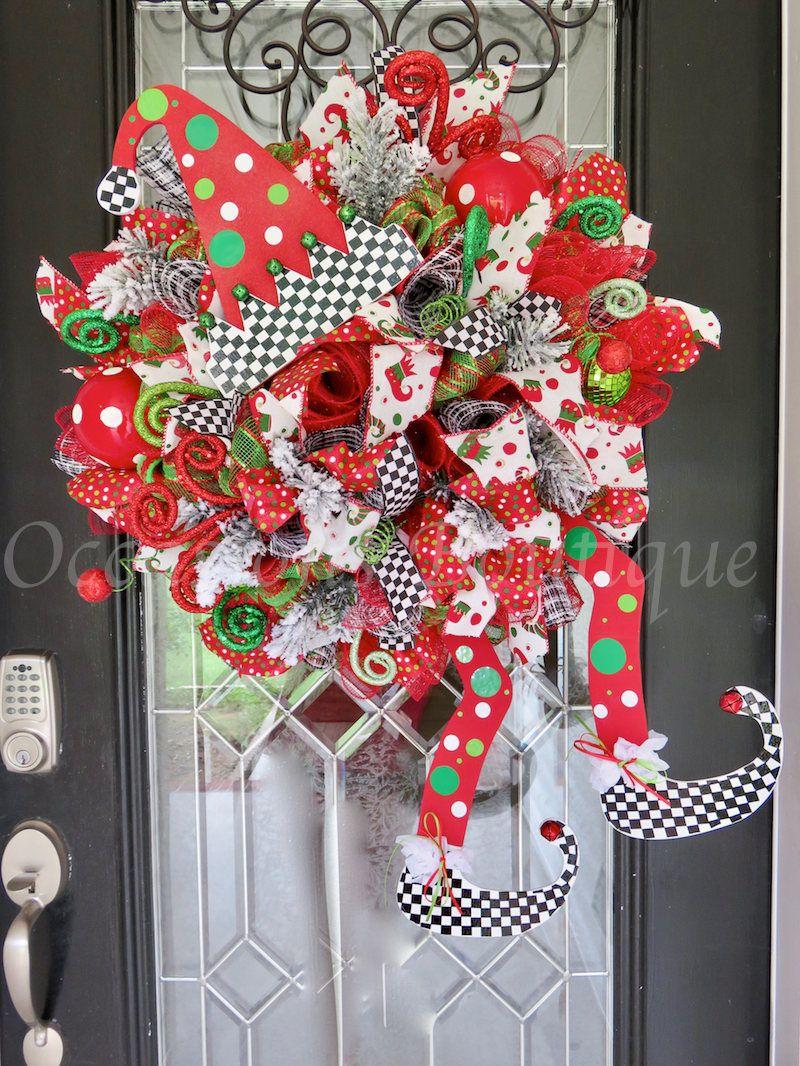whimsical christmas wreath holiday wreath christmas door hanger christmas decoration elf wreath