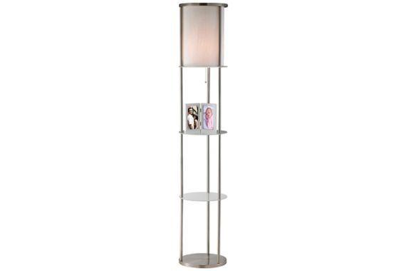 Grayling Satin Steel with White Shade Shelf Floor Lamp