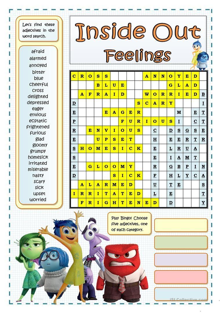 INSIDE OUT FEELINGS WORDSEARCH Social skills