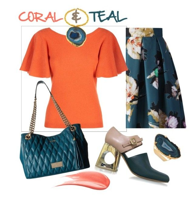 """""""Trending Teal Agate"""" by clairecoloursme on Polyvore featuring Chicwish, Temperley London, Amanda Marcucci, Marni, Mario Valentino, Valerie Nahmani Designs and Hourglass Cosmetics"""