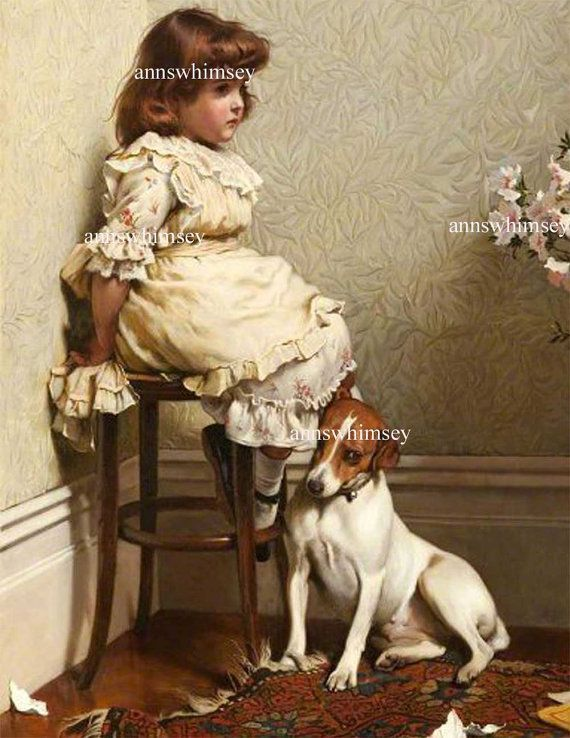 Collie and Little Girl Corner Dog Puppy Dogs Puppies Vintage Poster Art Print