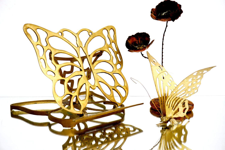 Vintage Solid Brass Ornate Butterfly Adjustable Book/Frame Tabletop ...